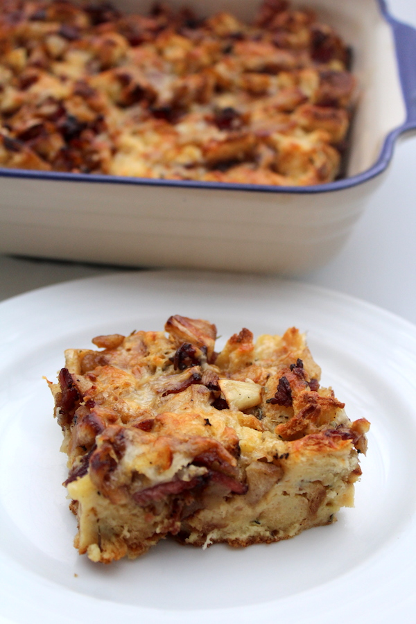 Apple Bacon Bread Pudding ~ Savory Bread Pudding ~ Make Ahead Breakfast