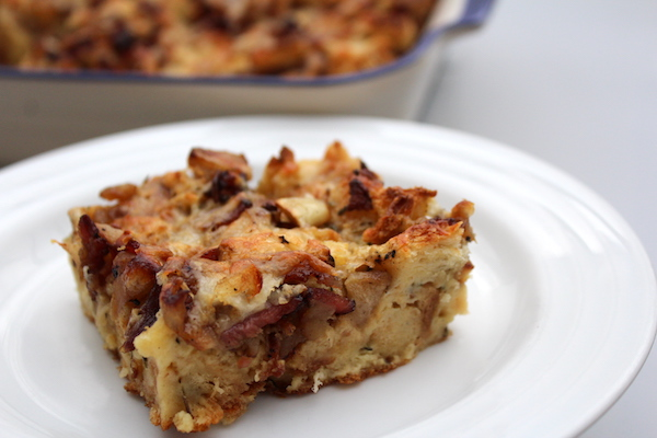 Apple Bacon Bread Pudding ~ Savory Make Ahead Breakfast