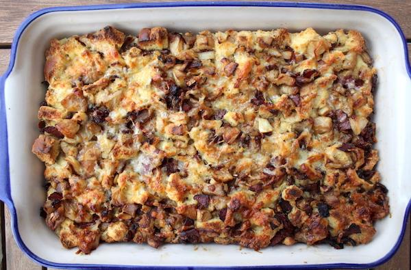 Apple Bacon Bread Pudding ~ Savory Bread Pudding ~ Make Ahead Breakfast