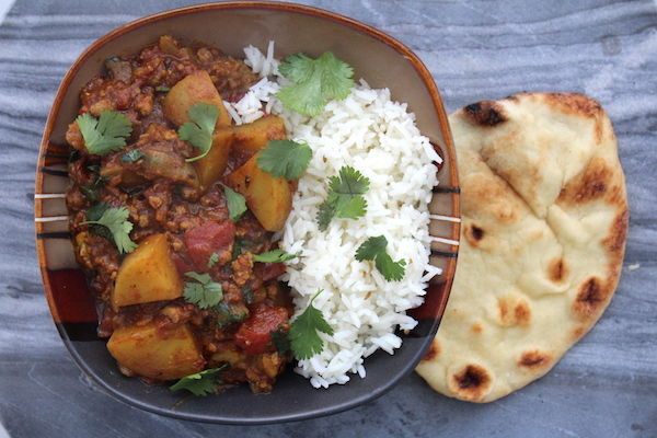 Keema Aloo Mince Curry with Potatoes Made with Lamb