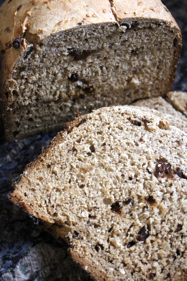 Bread Machine Cinnamon Raisin Bread ~ With a moist, dense crumb, this bread is perfect for toasting up and slathering with butter for a home baked treat.