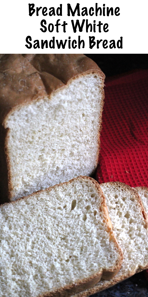 Bread Machine White Bread ~ Soft white sandwich bread fresh baked in a bread machine at home. Simple recipe for everyday white bread made at home in a bread machine.