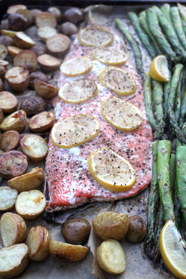 Sheet Pan Lemon Pepper Salmon with Asparagus and Potatoes