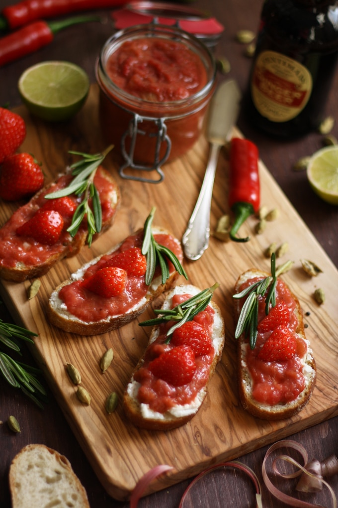 Goat Cheese Crostini with Rhubarb Chutney • Happy Kitchen