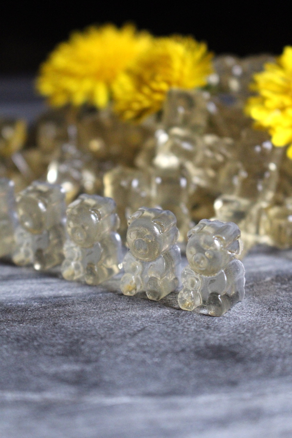 Healthy Gummy Bears Recipe with Dandelion and Honey ~ Honey Sweetened and flavored with Dandelion flowers