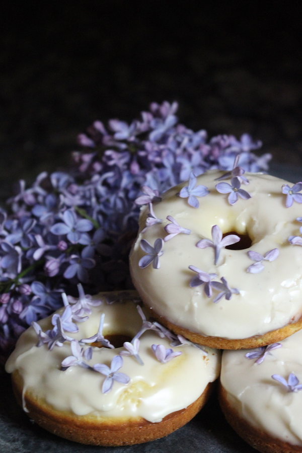 Homemade Lilac Donuts ~ Donuts made with edible flowers