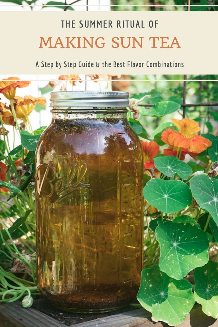 How to Make Sun Tea ~ Take advantage of the summer sun and brew up a jar of sun tea! Learn how to make this a summer ritual, plus get the recipe and suggested flavor combos here!