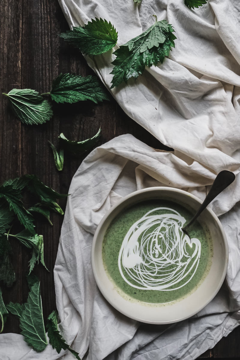 Potato, Leek and Nettle Soup with a Drizzle of crème fraîche