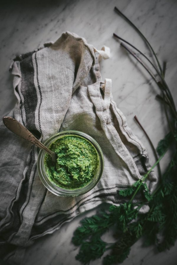 Carrot Top Pesto ~ Are Carrot Tops Edible? Yes, Indeed! And they make a darn fine pesto. If you have a bunch of fresh carrots, don't waste those beautiful, edible greens! Instead, make carrot top pesto! Get the easy recipe here, plus ideas for how to use it!