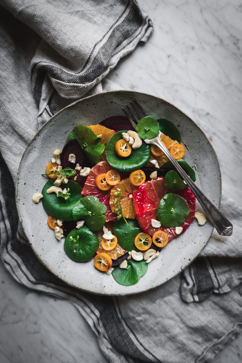 This Citrus, Beet and Miner's Lettuce Salad Recipe will nourish you during the transitions between seasons, and a wonderful way to highlight the foraged wild green. Sometimes known as winter purslane or claytonia, this rich succulent green makes the perfect base for a fresh salad.