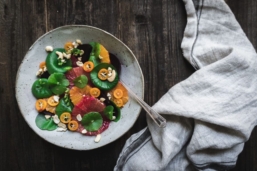 Citrus, Beet and Miner's Lettuce Salad