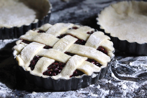Elderberry tarts filled with fresh elderberry pie filling