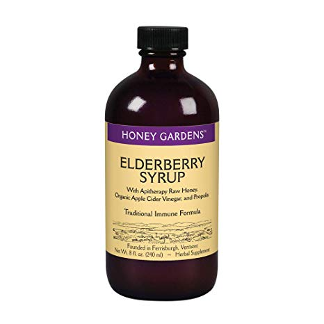 Honey Gardens Elderberry Syrup with Apitherapy Raw Honey, Propolis & Elderberries | Traditional Immune Formula w/Echinacea | 8 fl. oz.