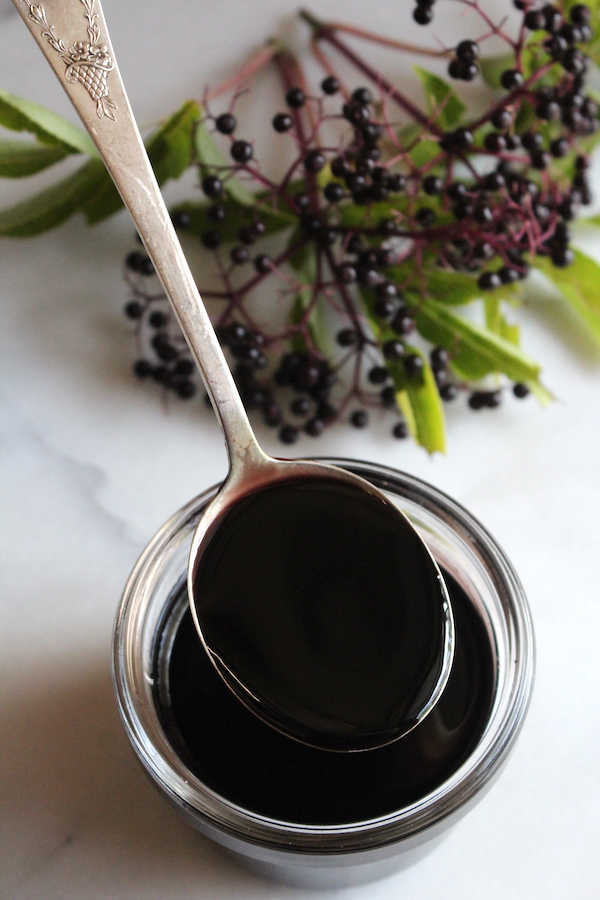 Elderberry syrup is a main ingredient in this homemade elderberry gummies recipe.