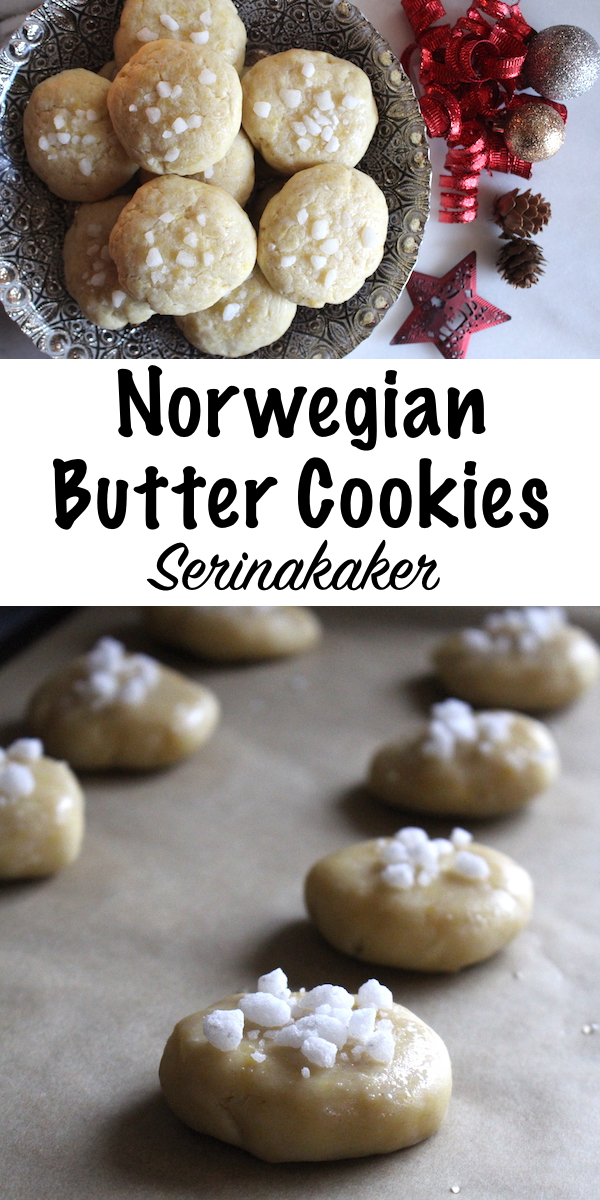 Norwegian Butter Cookies (Serinakaker) ~ These traditional norwegian holiday cookies are simple butter cookies decorated with pearl sugar. Looking for an easy nordic christmas cookie? Serinakaker come together in minutes and add another delicious holiday cookie to the christmas table. #christmascookies #holidayrecipes #nordicfood #norwegian