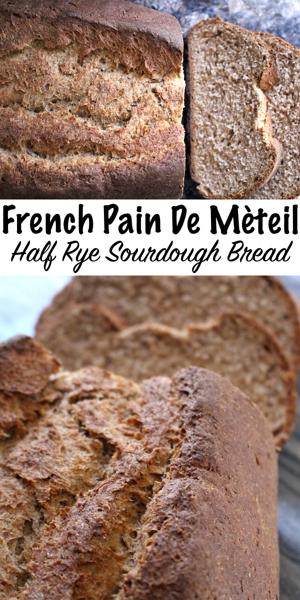 French Pain de Méteil ~ Half rye sourdough bread made with a rye sourdough starter and wheat soaker. This bread has about 45% rye flour, just enough to add wonderful flavor but not too much so this loaf still has wonderful springy texture. #sourdough #bread #recipe #rye #realfood #baking