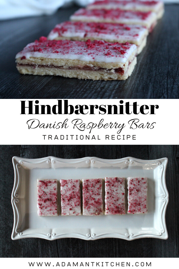 Hindbærsnitter (Danish Raspberry Bars) ~ These traditional danish cookies have raspberry jam sandwiched between layers of shortcrust pastry. A thick white frosting dusted with sprinkles (or freeze dried raspberries) makes them look like homemade pop tarts, but they're so much better! #danish #danishfood #nordicfood