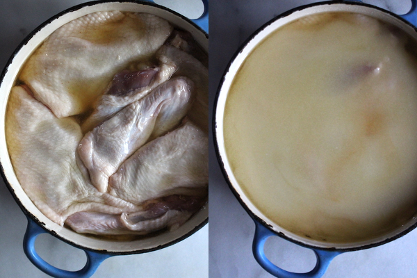 Confit de Canard Before Cooking ~ On the left, a dutch oven with duck and it's rendered fat. On the right, the same pot covered with an additional 1 1/2 cups duck fat.
