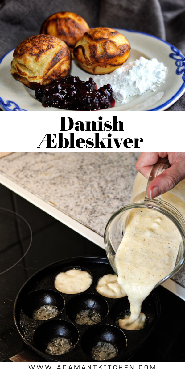 Danish Æbleskiver ~ Aebleskiver are a Danish delicacy traditionally eaten at Christmas time. It's a small round cake made on a special cake pan and served with powdered sugar and jam.