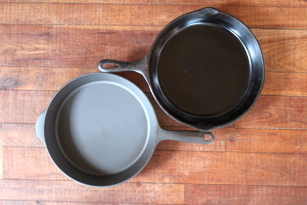 My new Field Company Cast Iron pan next to my antique cast iron.