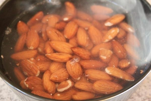 almonds covered in boiling water