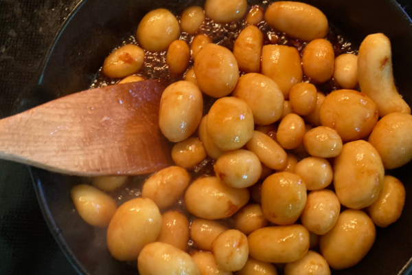 Early stage browned potatoes